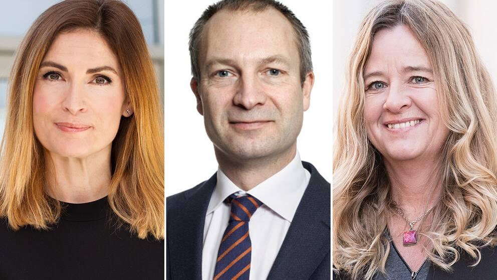 Emma Persson, privatkekonom på Länsförsäkringar, Erik Olsson, ordförande för Fastighetsmäklarförbundet och Claudia Wörmann, boendeekonom på SBAB.