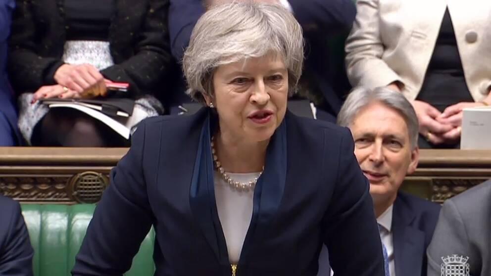 Storbritanniens premiärminister Theresa May talar i parlamentet före omröstningen om brexitavtalet.