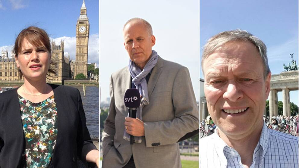 Nike Nylander (London), Christian Catomeris (Paris), Rolf Fredriksson (Berlin) – SVT:s utsända.