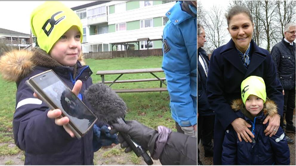 När kronprinsessan var på besök i Helsingborg passade 7-åriga Leo Weike på att ta en bild med tronföljaren.