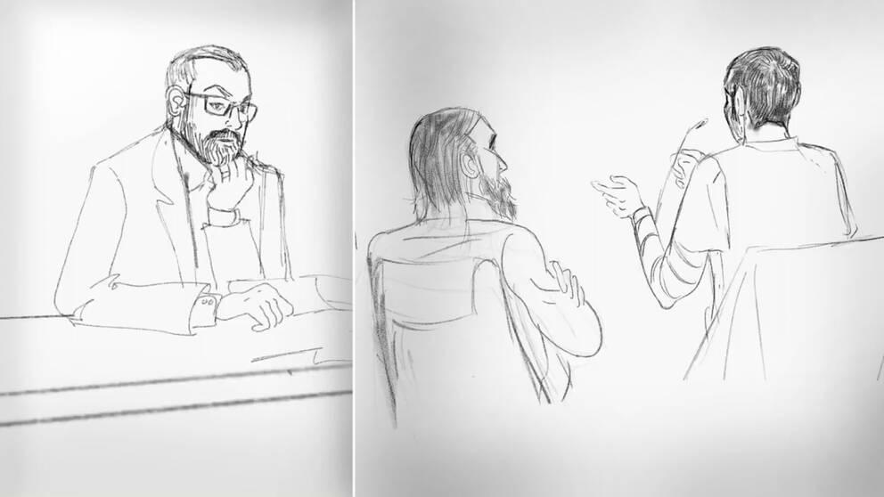 Åklagare Per Lindqvists med glasögon syns till vänster när han frågar ut de män som misstänks ha förberett terrordåd i Sverige som syns till höger.