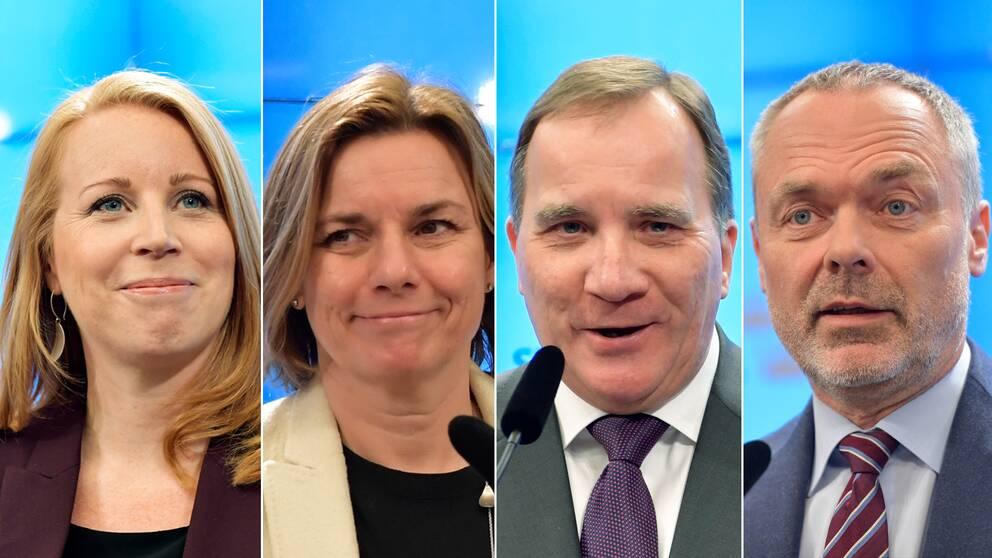 """""""Att bara varannan S-väljare tror att regeringen håller till nästa val måste vara en jobbig siffra"""", säger Torbjörn Sjöström, Novus vd. På bilden Annie Lööf (C), Isabella Lövin (MP), Stefan Löfven (S) och Jan Björklund (L) under veckans presskonferenser i riksdagen."""