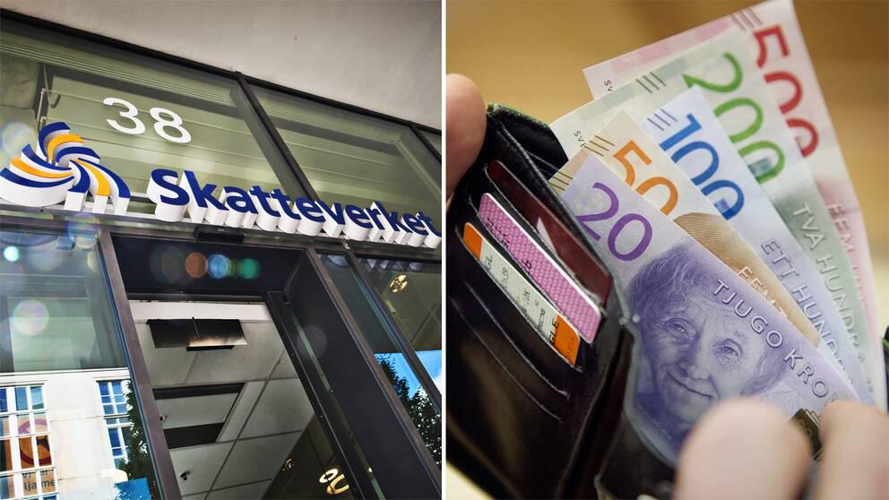 Ingång till Skatteverket och sedlar i en svart plånbok.