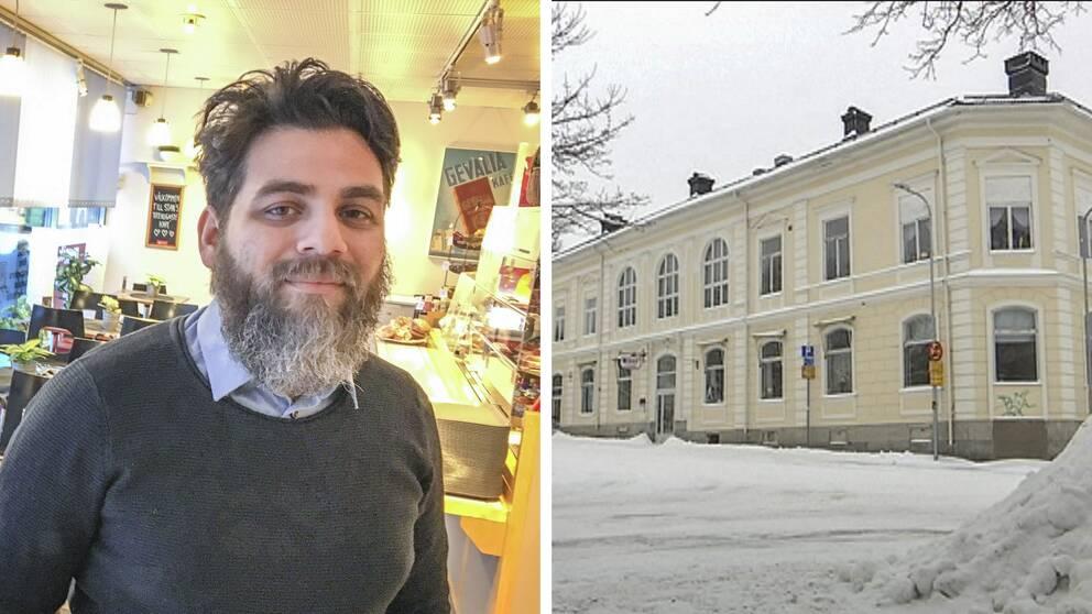 Sergio Manzanares (S) och huset som fastighetsbolaget äger i Hudiksvall.