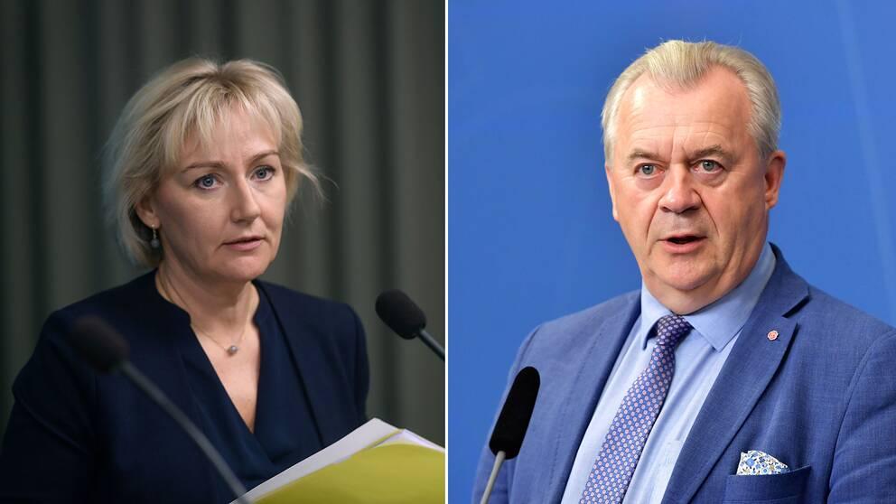 Helene Hellmark Knutsson (S), minister för högre utbildning och forskning och landsbygdsminister Sven-Erik Bucht (S).