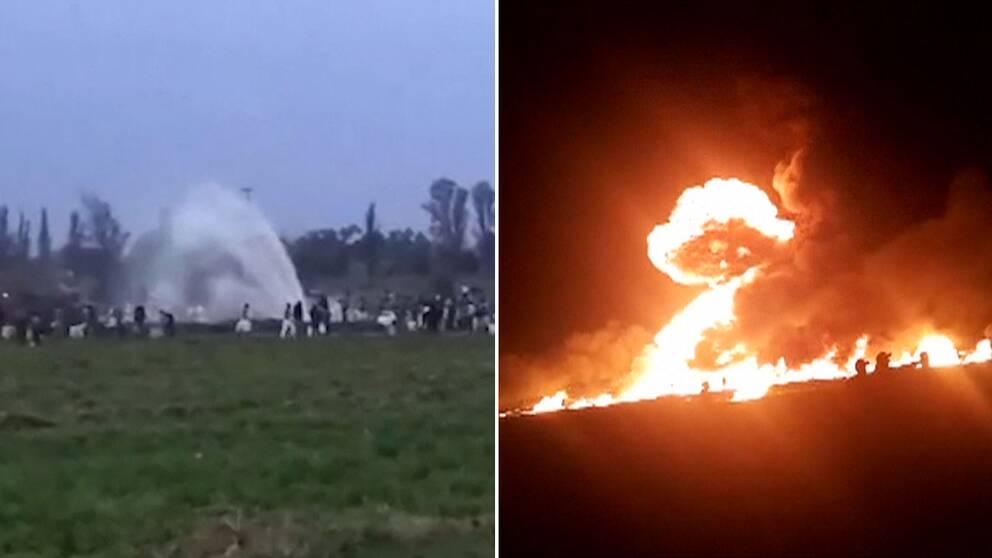 Bilder visar hur människor samlas för att fylla plastdunnkar med bensin som sprutar ut ur ledningen. En stund senare har platsen förvandlats till ett brinnande inferno.