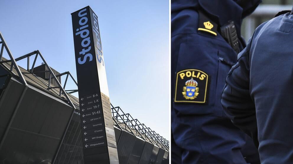Malmö Nya Stadion samt polis.