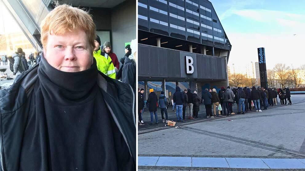 Ann-Marie Hansson står i kö för att köpa biljetter på Malmö Nya Stadion.