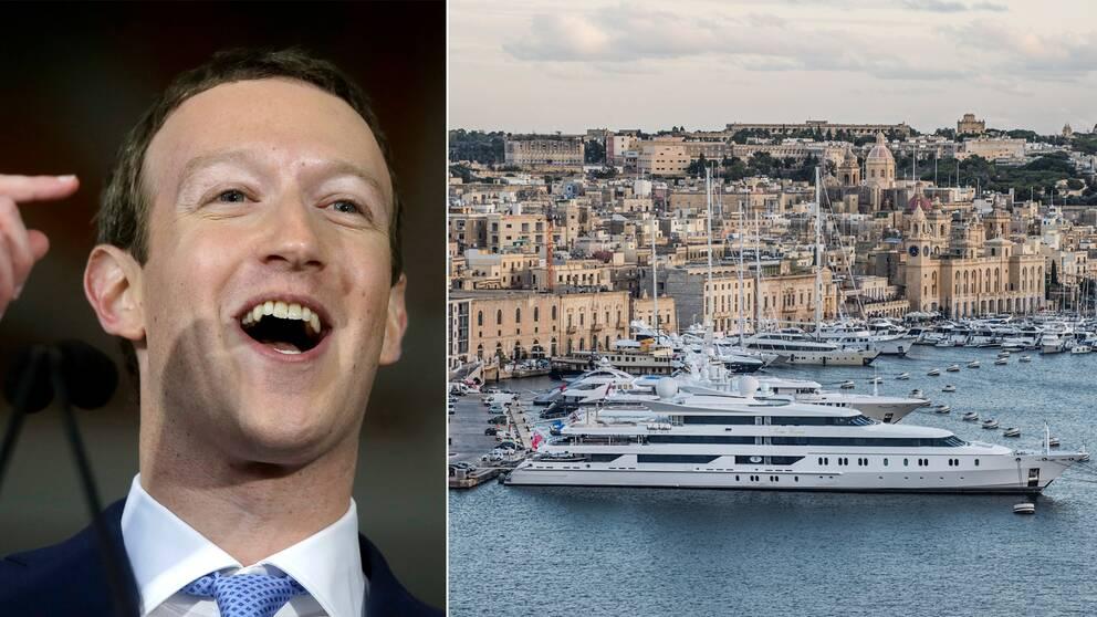 De rika blir allt rikare, enligt Oxfams rapport. Mark Zuckerberg (t.v) är en av världens rikaste. Till höger är lyxjakter på rad i hamnen i Valetta på Malta.