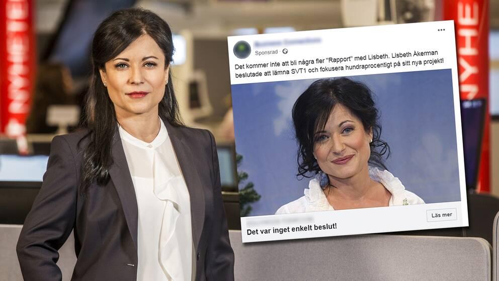 Med bilder på Lisbeth Åkerman och påhittade uppgifter sprids nu falska artiklar om hennes liv.