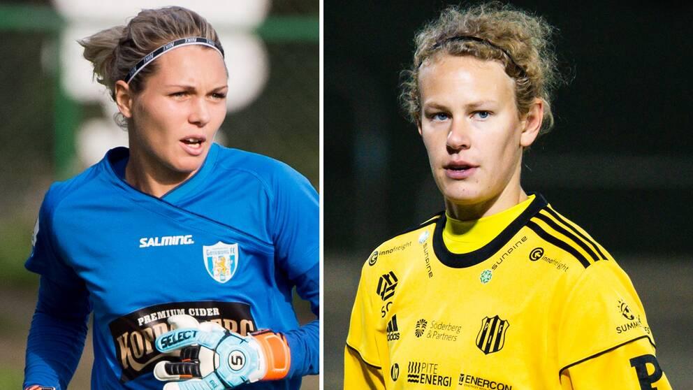 Jennifer Falk och Cajsa Andersson, målvakter i svenska landslaget.