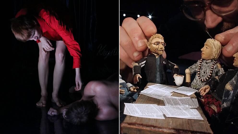 """Bilder ur föreställningarna """"Rosemarys babyshower"""" av Potato Potato och """"Skvalpet"""" på Malmö Dockteater."""