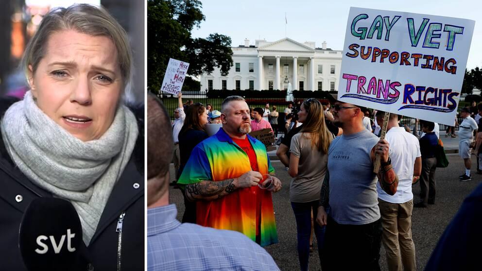 SVT Nyheters Carina Bergfeldt kommenterar lagändringen som berör transpersoner i USA:s militär, en fråga som engagerat många – bland annat här vid en demonstration utanför Vita huset i Washington DC vid ett tidigare tillfälle.