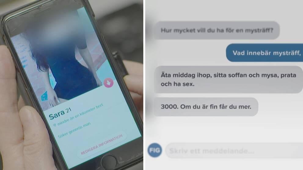 SVT:s fejkprofil på Tinder som erbjuder människor att köpa sex samt en nätkonversation med en person som visar intresse för att köpa sex.