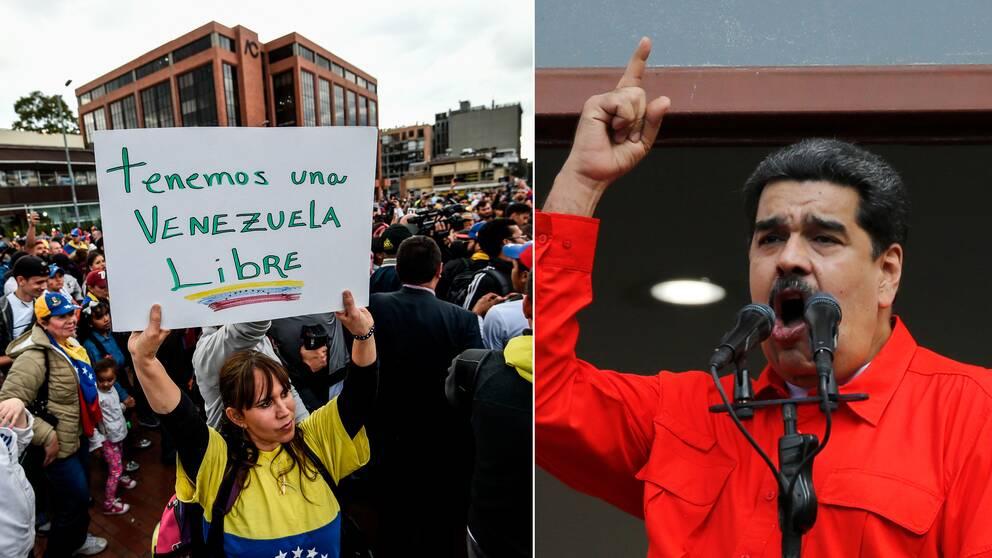 Protesterna hölls även i andra delar av Latinamerika. T.v protester i Colombia som också de riktade sig mot mot Venezuelas president Nicolas Maduro (t.h).