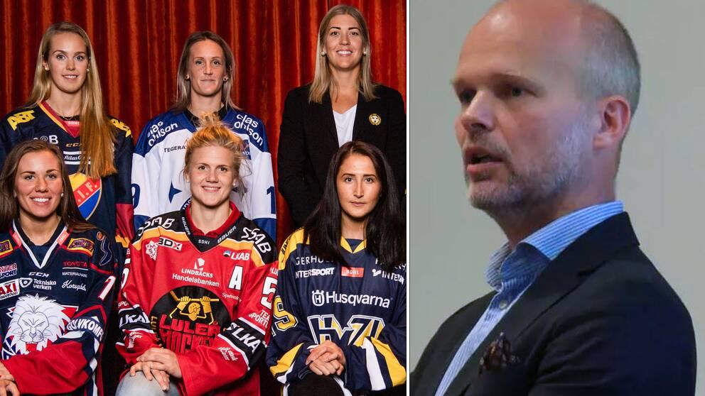 Sex av SDHL-klubbarnas spelare på upptaktsträffen samt Disciplinnämndens ordförande Alexander Ramsay.