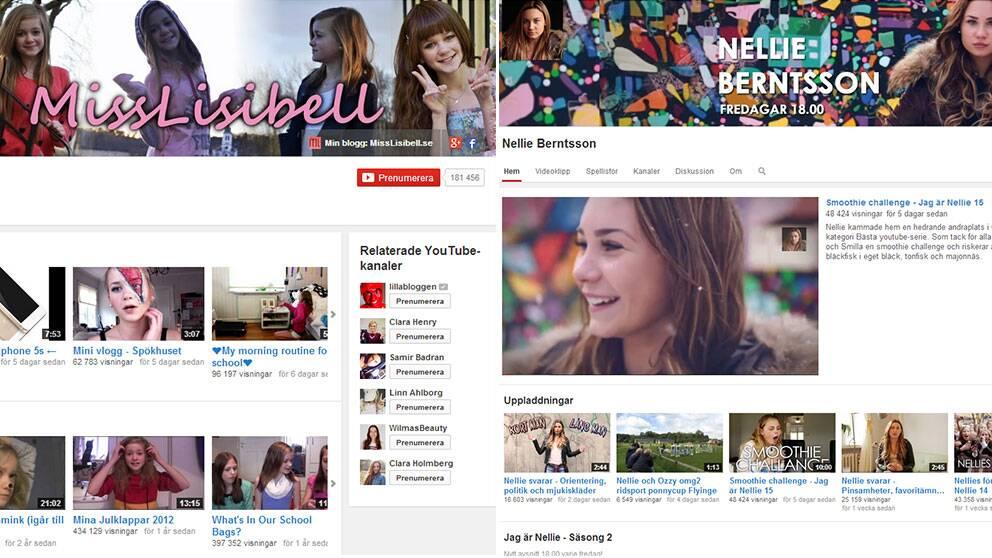 Videobloggarna Misslisibell och Nellie Berntsson är båda tretton år och några av de mest framgångsrika bland unga på internet.