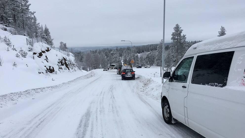 Lastbils fast vid Södra berget.
