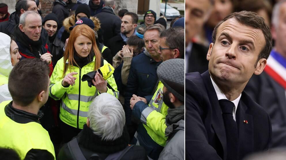 Ingrid Levavasseur omringad av anhängare och president Emmanuel Macron