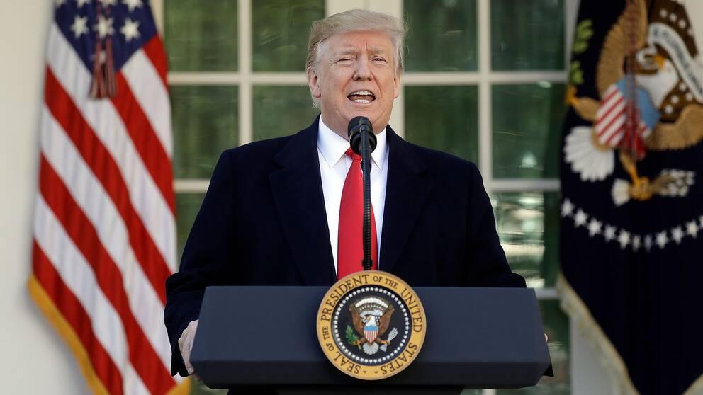 Donald Trump presenterar överenskommelsen med demokraterna i Vita husets trädgård