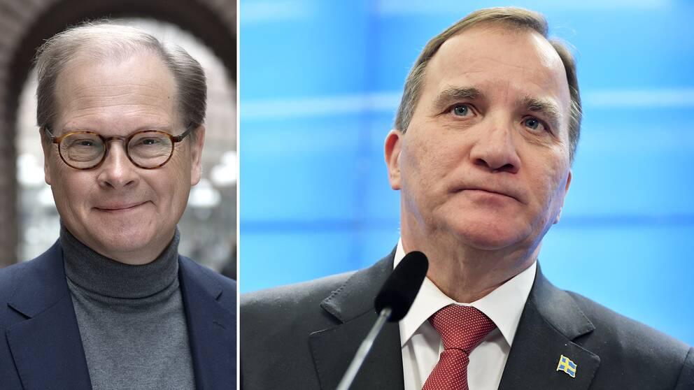 SVT:s politiska kommentator Mats Knutson och statsminister Stefan Löfven (S).