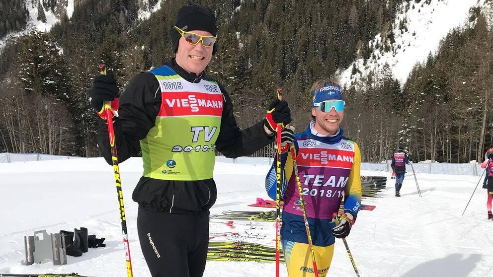 Björn Ferry med tränare Johan Hagström.
