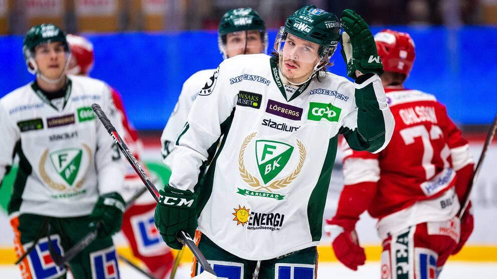 Färjestads Joakim Nygård jublar efter 2–2.