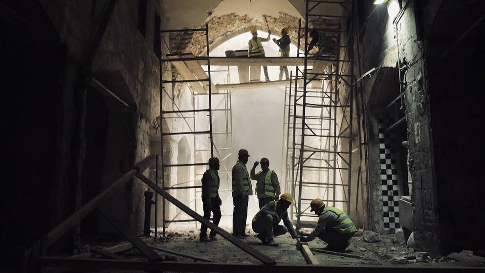 Återuppbyggnadsarbete i gamla Aleppo.