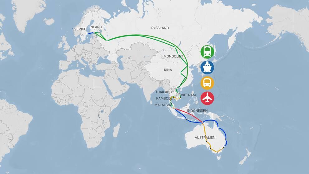 Meteorolog Helen Tronstad har försökt att undvika att flyga under sin långresa till Australien.