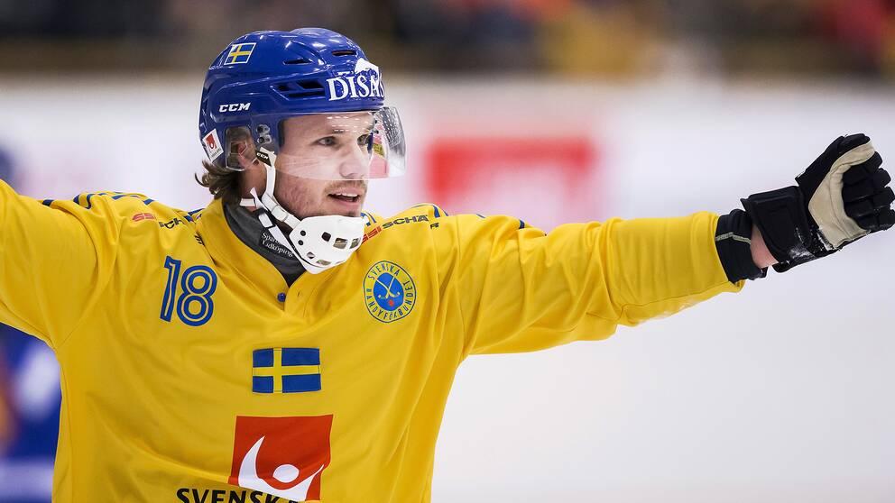 Joakim Andersson jublar efter att ha gett Sverige ledningen med 1–0 mot Finland.