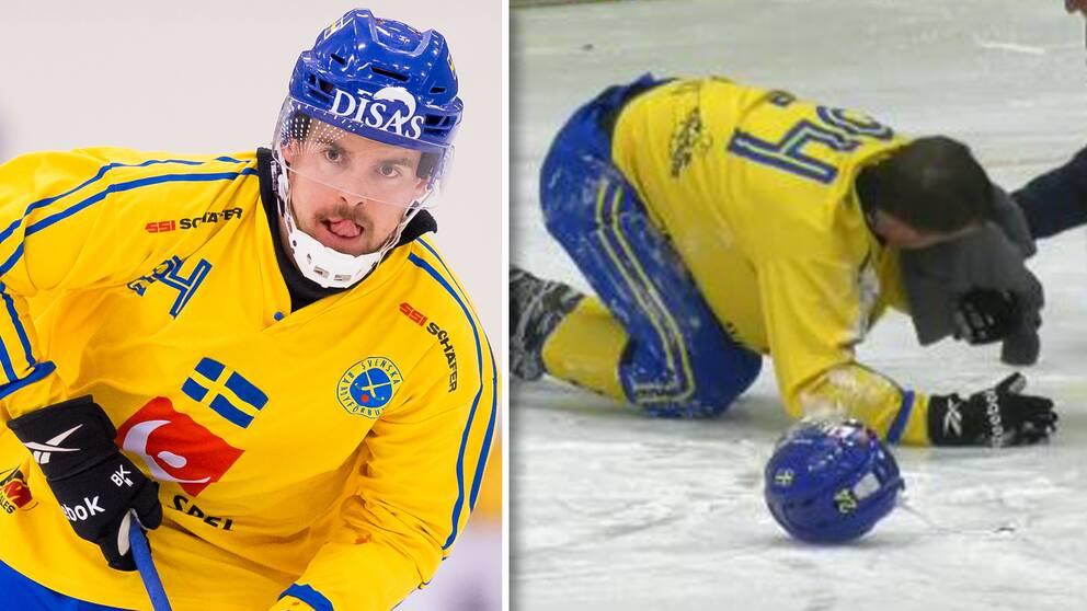 Sveriges Martin Johansson träffades i ansiktet av ett skott.