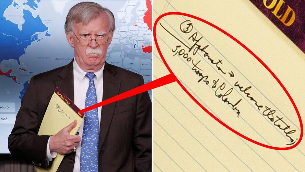 """USA:s nationelle säkerhetsrådgivare John Bolton höll en sida av sitt skrivblock synligt vid pressträffen om sanktioner mot Venezuela, """"5000 trupper till Colombia"""" stod det på pappret."""
