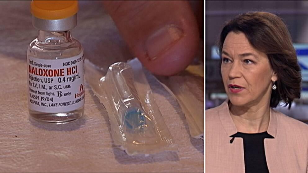 Olivia Wigzell, Socialstyrelsens generaldirektör, säger att läkemedlet Naloxon kan rädda liv.