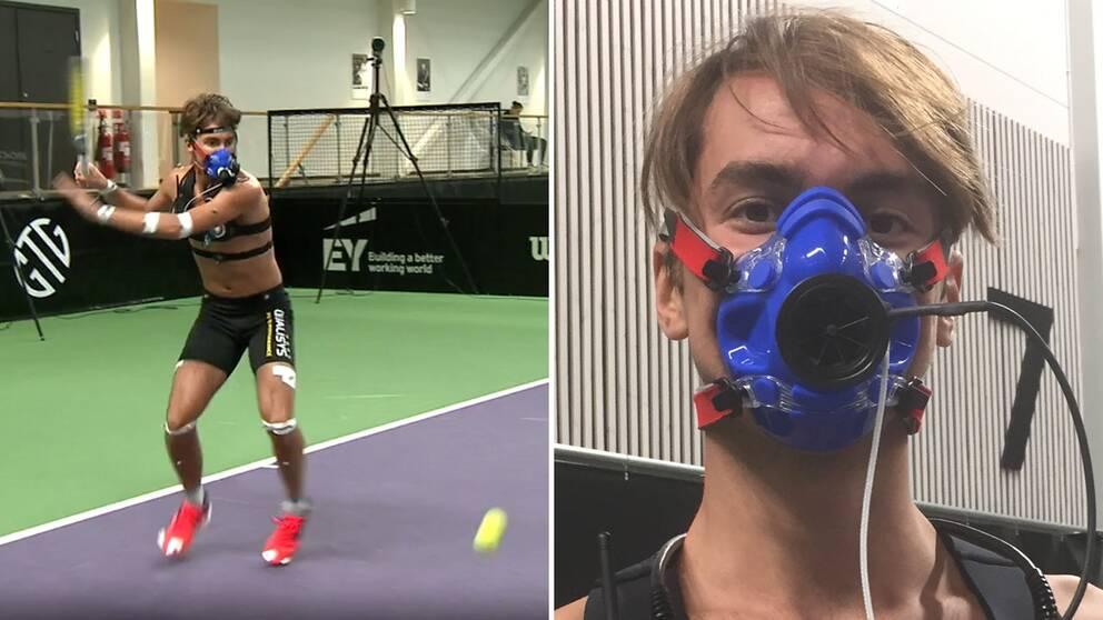 Kan ett forskningsprojekt göra svensk tennis bättre? Talangen Karl Friberg, 19, är en av försökspersonerna.