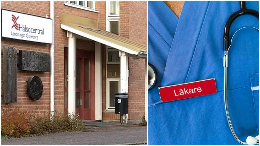 Två bilder. Hofors Hälsocentral och en läkare i närbild