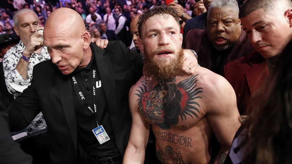 Superstjärnan Conor McGregor efter förlusten i titelmatchen mot Khabib Nurmagomedov.