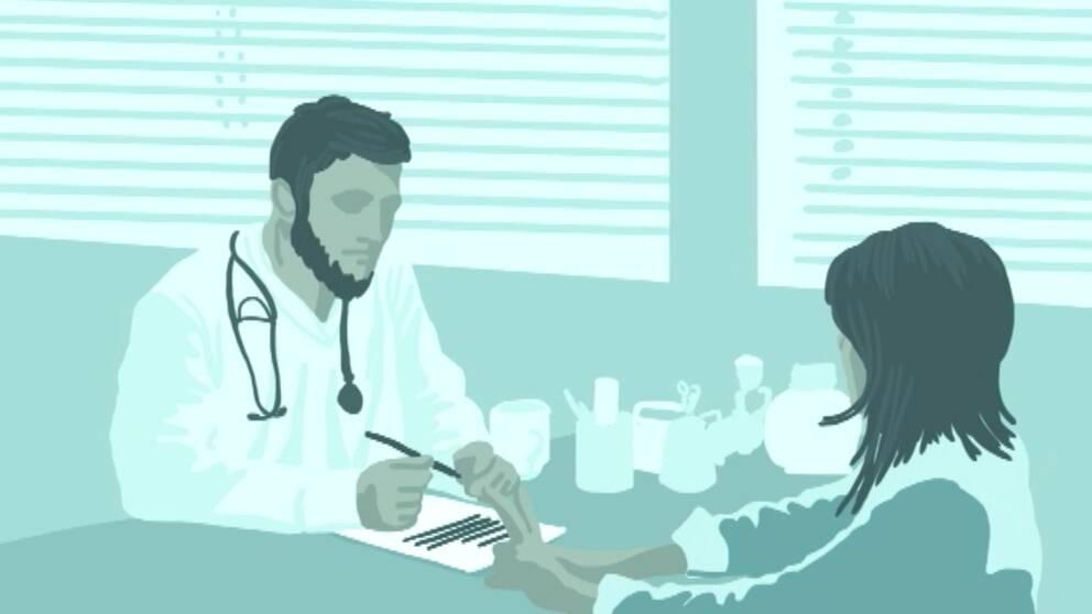 illustration av en manlig läkare som sitter vid skrivbord med en patient