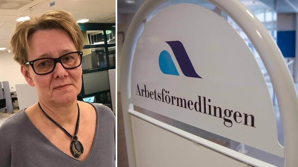 """Sari Harju, kvinna med glasögon, i kontorslandskap. Skylt som det står """"Arbetsförmedlingen"""" på."""