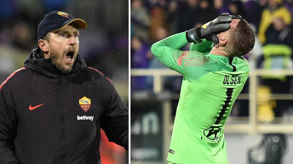 Roma-tränaren Eusebio Di Francesco var inte särskilt nöjd med Robin Olsens insats.