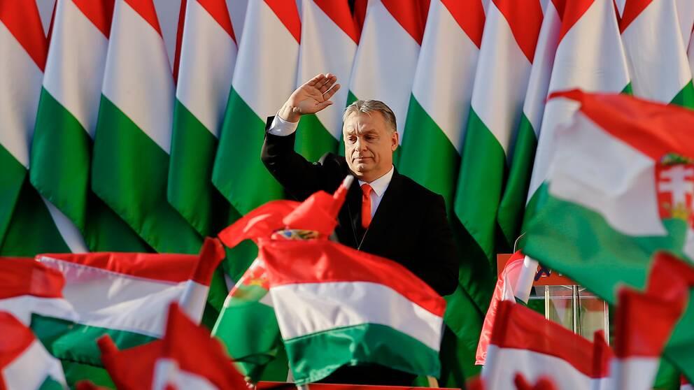 Ungerns premiärminister Viktor Orban under ett valmöte våren 2018.
