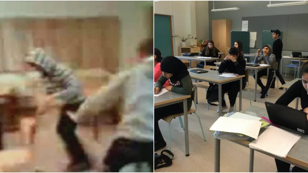 Högstadiet på Rosengårdskolan 2013 och 2019.
