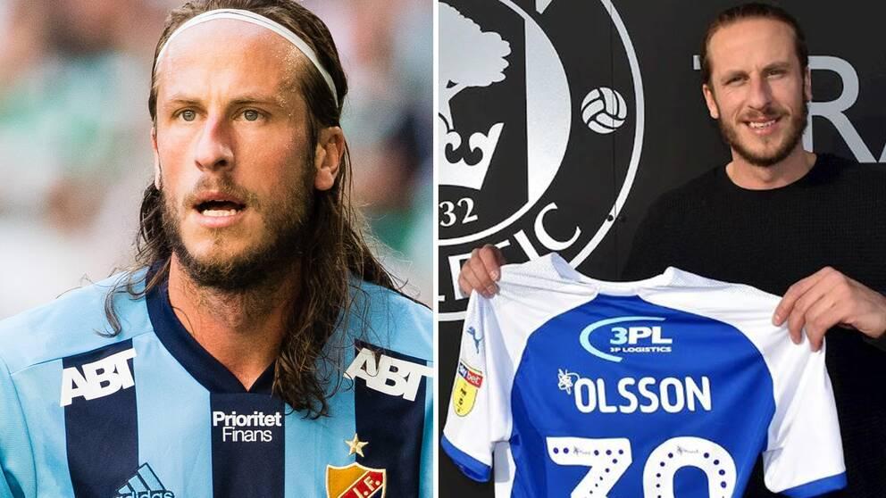 Jonas Olsson i Djurgården och med sin nya tröja i Wigan.