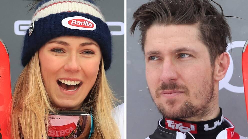 Mikaela Shiffrin och Marcel Hirscher.