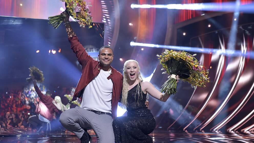 Mohombi och Wiktoria går vidare till finalen efter lördagens deltävling 1 i Melodifestivalen 2019 i Scandinavium.