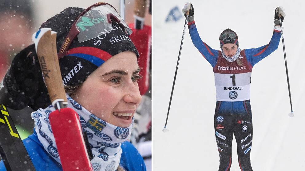 1 stod det på nummerlappen – etta blev hon också i loppet. Ebba Andersson överlägsen vinnare på 15 kilometer klassiskt på SM.
