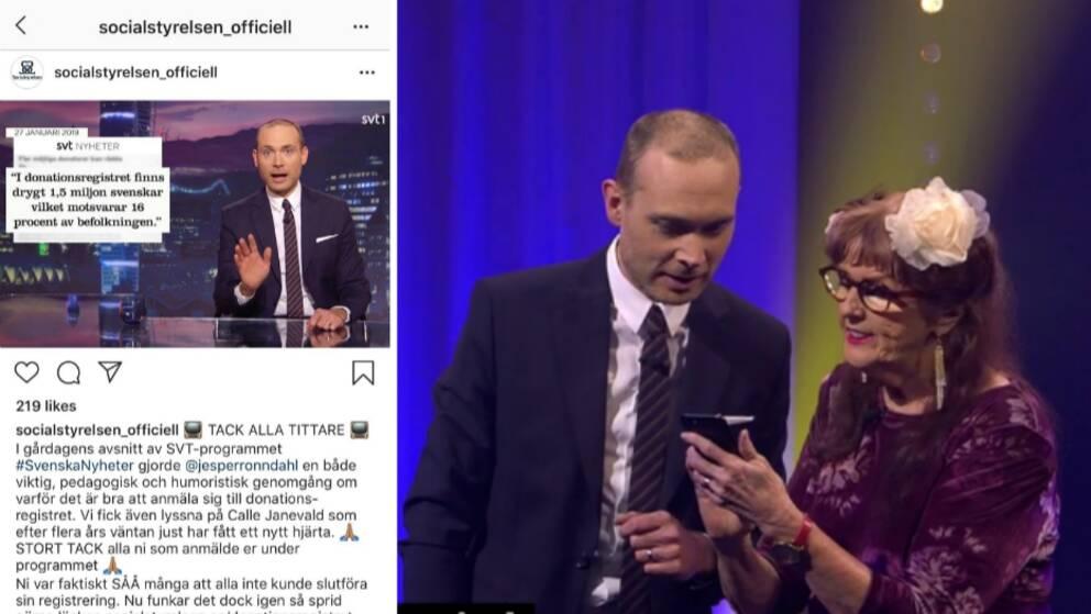 """Efter att uppmaningen som fick sajten att krascha: Nu hyllar Socialstyrelsen programmet och Jesper Rönndahl för genomgången som man beskriver som """"Viktig, pedagogisk och humoristisk""""."""