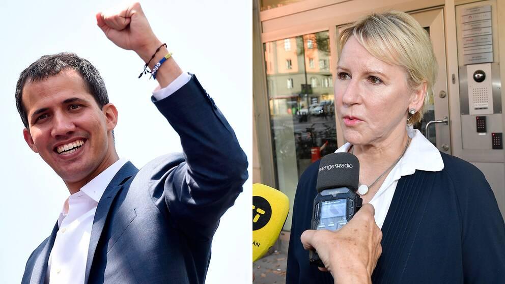 Venezuelas oppositionsledare Juan Guaido och Sverige utrikesminister Margot Wallström
