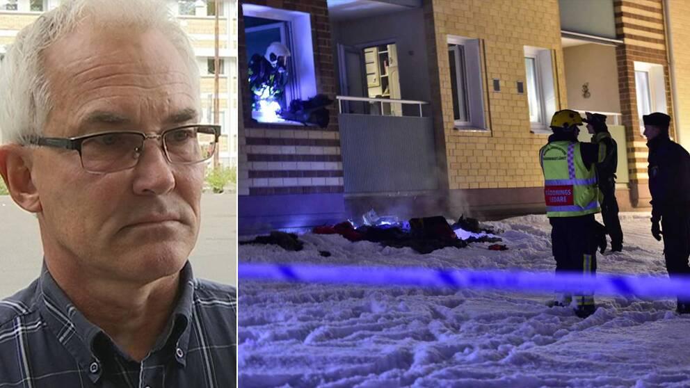 Porträtt på polisen Lars Liewenborg samt en bild på polis och räddningstjänst vid brandlägenheten.