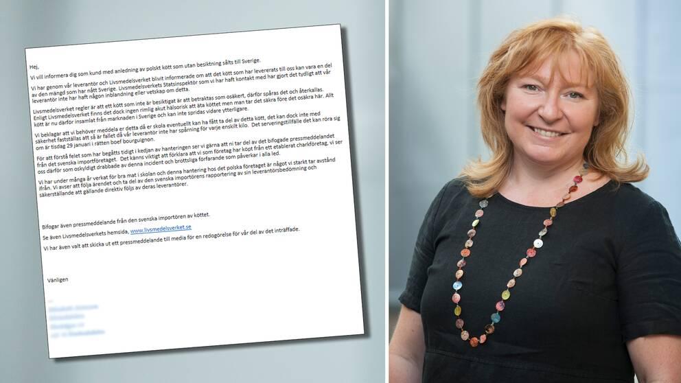 Kajsa Rehnman, rektor på Kunskapsgymnasiet Globen, fick via ett pressmeddelande från matleverantören Kleins Kitchen veta att skolan kan ha fått det sjuka köttet.