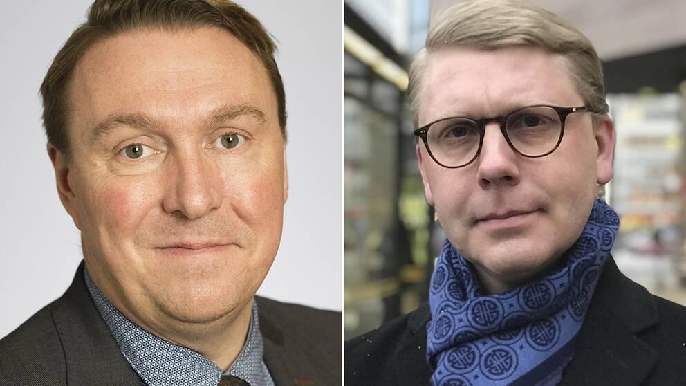 Jens Sjöström (S) och Kristoffer Tamsons (M) har delade meningar om spelreklamen i kollektivtrafiken.